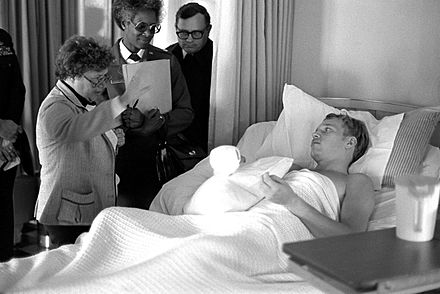 Mikulski speaking to a patient at a military hospital, 1980. - Barbara Mikulski