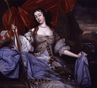 1650–1700 in Western European fashion - Portrait of Barbara Viliers, mistress of King Charles II, painted by John Michael Wright c. 1670 in the romantic style.