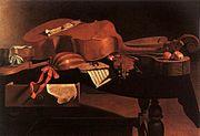Instruments de musique baroque sur une table par  Baschenis.
