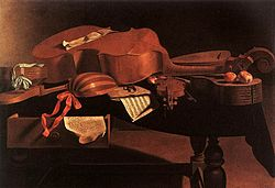 Painting of various Baroque instruments, including the hurdy gurdy, harpsichord, bass viol, lute, violin, and guitar.