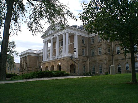 Bascom Hall atop Bascom Hill at the heart of the campus BascomHill.JPG