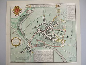 Blandford Forum - Plan showing extent of damage of the 1731 fire; the properties shaded black were destroyed, those shaded yellow survived.