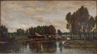 Oise (river) - Boats on the Oise, Charles-François Daubigny, 1865.