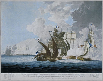 Adriatic campaign of 1807–14 - Battle of Lissa, 13 March 1811 Engraved by Henri Merke after a painting by George Webster, 1812