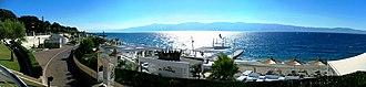 Reggio Calabria - View on the Strait of Messina by the beach of Reggio Calabria