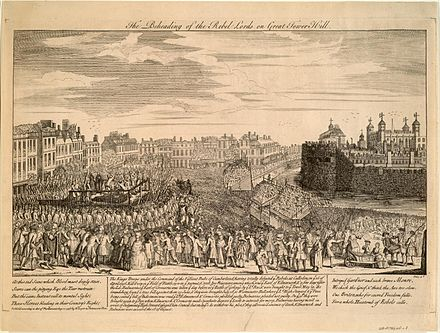 A contemporary engraving depicting the executions of Kilmarnock and Balmerino at Great Tower Hill, on 18 August 1746 Beheading of the rebel lords on great tower hill.jpeg