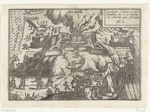 Beleg van Oostende - brand in fort Albertus op 13 november 1601