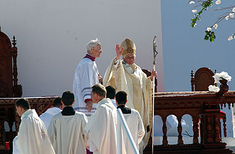 Pope Benedict at the canonization of Frei Galvao BentoXVI-43-11052007.jpg