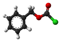 Ball-and-stick model of the benzyl chloroformate molecule
