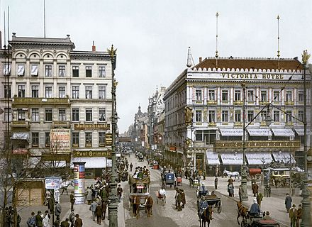 Berlin became the capital of the German Empire in 1871 and expanded rapidly in the following years. Berlin Unter den Linden Victoria Hotel um 1900.jpg
