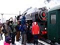 Beroun, Křivoklát expres (prosinec 2012), připojování lokomotivy.jpg