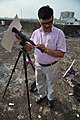 Bharat Bhusan Srivastava Adjusting Telescope - Observance of Mercury Transit - Kolkata 2016-05-09 3661.JPG