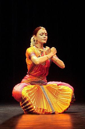 Bharatanatyam - The bent knee posture is quite common in a Bharatanatyam performance.