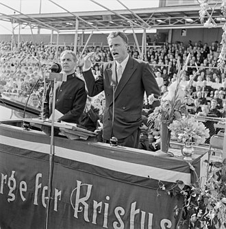 Billy Graham - Graham speaking at a Crusade in Oslo, Norway, 1955