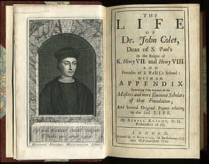 "John Colet - Frontispiece and titlepage of ""The Life of Dr John Colet"", Dean of St Paul's"" by Samuel Knight, 1724."
