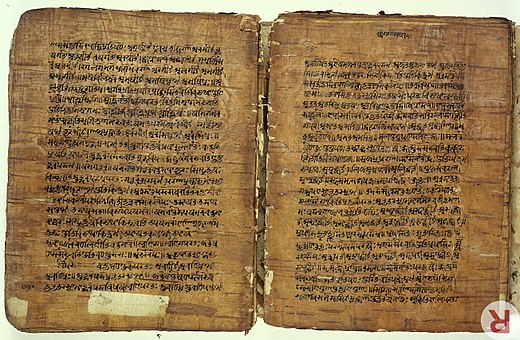 A 17th-century birch bark manuscript of Panini's grammar treatise from Kashmir Birch bark MS from Kashmir of the Rupavatra Wellcome L0032691.jpg