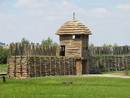 Reconstructed Biskupin fortified settlement of the Lusatian culture, 8th century BC Biskupin brama od wewnatrz.jpg