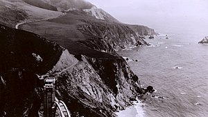 Bixby Creek Bridge - Bixby Creek Bridge under construction, 1932
