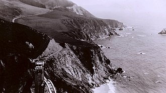 California State Route 1 - Bixby Canyon Bridge under construction in 1932