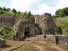 Blaenafon Ironworks -two furnaces-24May2008.jpg