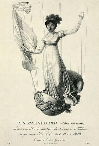 Luigi Rados - An 1811 engraving of balloonist Sophie Blanchard by Luigi Rados