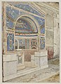 Blue Mosaic fountain in Pompeii watercolor by Luigi Bazzani.jpg