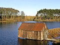 Boathouse on Lindean Reservoir - geograph.org.uk - 630879.jpg