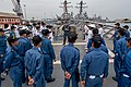Boatswain's Mate 1st class Shane Slater gives a tour of the Ticonderoga-class guided-missile cruiser USS Princeton (CG 59) to members of the Indian Navy and Japan Maritime Self-Defense Force during Malabar 2017.jpg