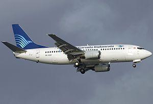 Garuda Indonesia Flight 421 - A Garuda Indonesia Boeing 737-3Q8, similar to the accident aircraft.