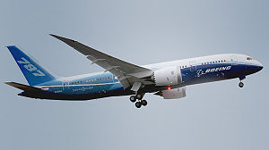A Boeing 787-8 in Boeing corporate colors