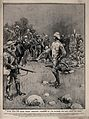 Boer War; a British officer on a battlefield demanding posse Wellcome V0015628.jpg