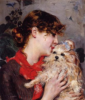 Gabrielle Réjane - The Actress Réjane and her Dog, by Giovanni Boldini. Ca 1885