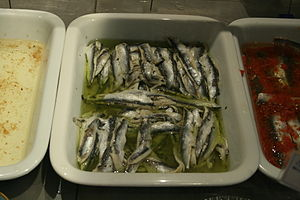 Boquerones en vinagre - Boquerones en vinagre, ready for serving.