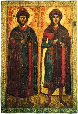 Boris and Gleb - Medieval icon of SS. Boris and Gleb (13-14th century, Kiev museum of Russian art)