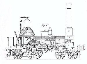 August Borsig - Technical drawing of the first steam locomotive (1840)