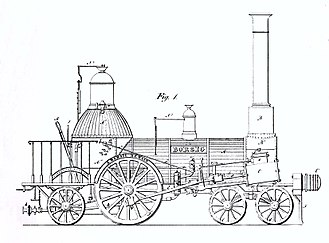 4-2-2 - Technical drawing of the first Borsig locomotive