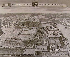 """Boughton Monchelsea Place - """"Boughton Court"""" by Thomas Badeslade (1719), showing the house with the original north and west wings and formal gardens intact"""