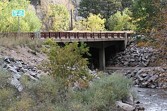 National Register of Historic Places listings in Boulder County, Colorado - Image: Boulder Creek Signage and Bridge