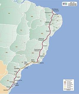 BR-116 highway in Brazil
