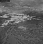 Brady Glacier, outwash plain in the foreground, valley glacier terminus in the background, September 16, 1972 (GLACIERS 5556).jpg