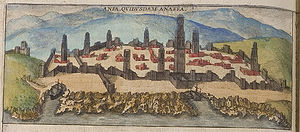 "Casablanca - Casablanca in 1572, still called ""Anfa"" in this coloured engraving, although the Portuguese had already renamed it ""Casa Branca"" -- ""White House"" -- later Hispanicised to ""Casablanca""."