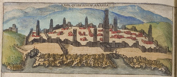 "Casablanca in 1572, still called ""Anfa"" in this coloured engraving, although the Portuguese had already renamed it ""Casa Branca"" -- ""White House"" -- later Hispanicised to ""Casablanca"". Braun Anfa UBHD.jpg"