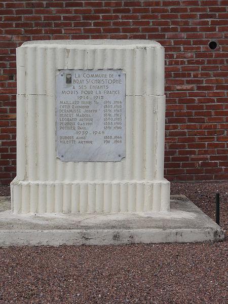 Bray-Saint-Christophe (Aisne) monument aux morts