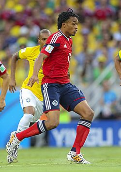 Brazil and Colombia match at the FIFA World Cup 2014-07-04 - Juan Cuadrado.jpg