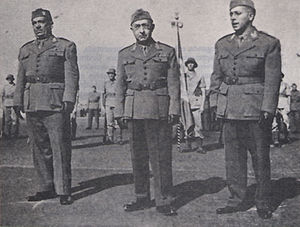 Brazilian Expeditionary Force - General Mascarenhas de Morais (center), Brazilian army officer and commander of the BEF