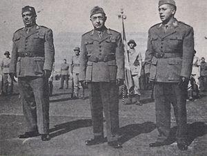 Brazilian Expeditionary Force - General Mascarenhas de Morais (center), Brazilian army officer and commander of the BEF