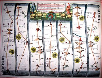 "John Ogilby - Image from John Ogilby's 1675 ""Britannia"" atlas, showing the route from Newmarket, Suffolk to Wells-next-the-Sea, Norfolk."