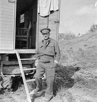 Freddie de Guingand - de Guingand outside Montgomery's caravan, Tripoli.
