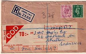 Cash on delivery - A British cash on delivery registered letter from 1940s London showing 4s 7d due on delivery.