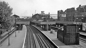 Bromley-by-Bow tube station - Bromley station in 1961, with West Ham Power Station visible in the background